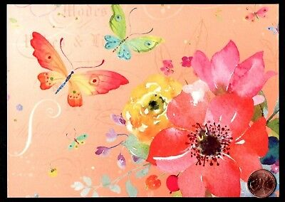 NEW LARGE Blank Note Card PAPYRUS Butterfly Purple Blue Watercolor Flowers
