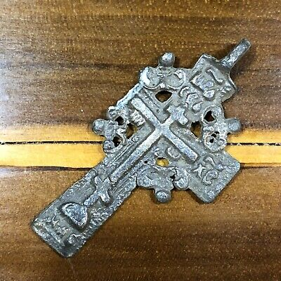 Big Pre-1750's Byzantine Cross Artifact Medieval Europe Russian Orthodox Pendant