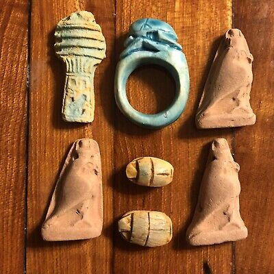 7 Replica Ancient Egyptian Faience Ushabti Amulet Talisman Mummy Pendant Lot