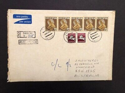 1994 Lithuania registered cover from Siauliai to Stratfield Australia