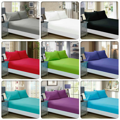 800 TC Egyptian Cotton Fitted Sheet Set Single/Double/Queen/King/SuperKing Size