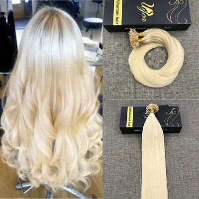 Ugeat Dream 22Inch 50Gram Bleach Blonde U Tip Hair Extensions Real Human Hair