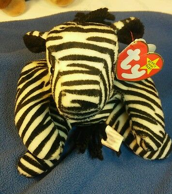 "*Rare* Retired Beanie Babies ""Ziggy"" Zebra with many errors PVC Pellets"