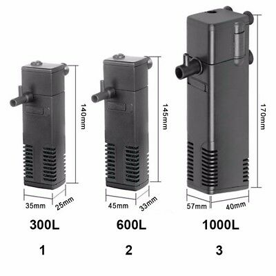 Vertical Internal Aquarium Fish Tank Filter Filtration Pump Spray 300LPH #NE8Z