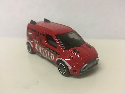 Hot Wheels CUSTOM W/REAL RIDERS Red Ford Transit Connect