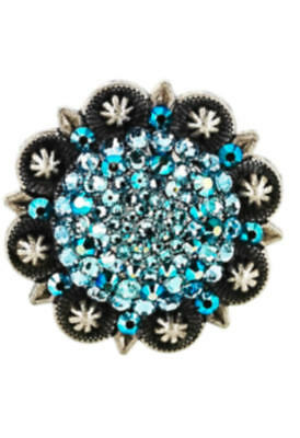 """3"""" Antique Silver Concho using Swarovski Crystals - custom colors available"""