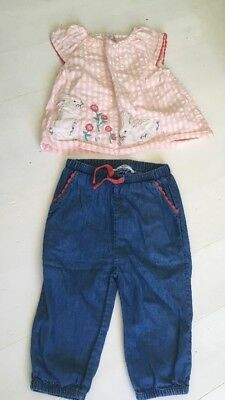 Girls Baby Boden Size 6-12 Months 2 Piece Set Light Weight Trousers Bunny Check