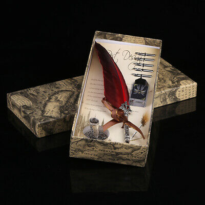 creative Quill Dip Pen Vintage with Gift Box Feather Pen + Ink Bottle & 5 Nibs