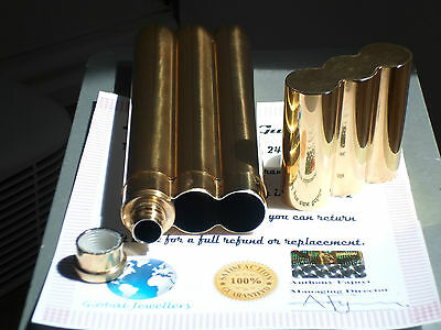24K Gold Plated Cohiba Metal 2 Tube Cigar Holder Case and  Hip Flask Gift Idea