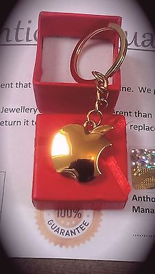 24K 24ct gold plated Stainless Steel Apple keyring 3d car key ring Keychain