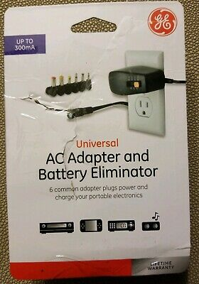 GE UNIVERSAL AC ADAPTER AND BATTERY ELIMINATOR UP TO 300mA