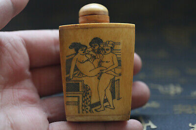 Rare Chinese Hand-carved man woman Cattle Bone Snuff Bottle