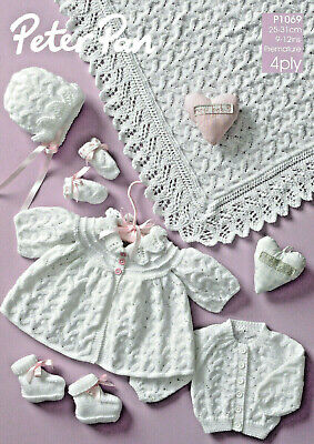 Peterpan-1069   Premature Baby Clothes Knitting Pattern   25-31 cm   4 Ply