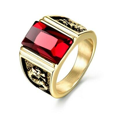 Charms Red Garnet Crystal Mens Heavy Gold Stainless Steel Dragon Ring Band