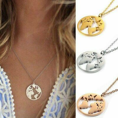 Fashion Stainless Steel World Map Heart Pendant Necklace Women Chain Jewellery