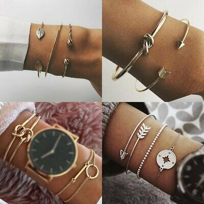 Women Stainless Steel Lots Style Cuff Open Bracelet Bangle Chain Jewelry Gifts