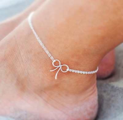 UK Womens Ankle Bracelet Bow Silver Gold Plated Anklet Foot Double Chain Beach