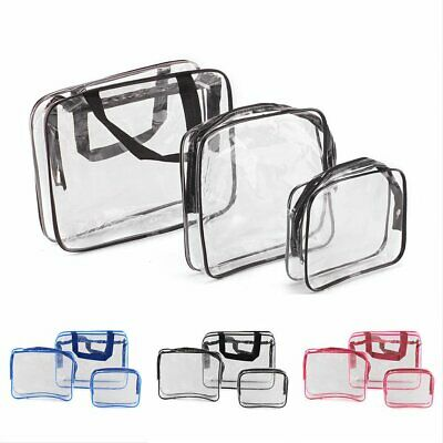 3pcs Portable Clear Cosmetic Toiletry PVC Travel Wash Pouch Kits Set Makeup Bag