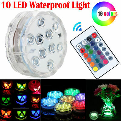 Submersible Waterproof 10LED Light RGB for Vase Wedding Party Fish Remote Decors
