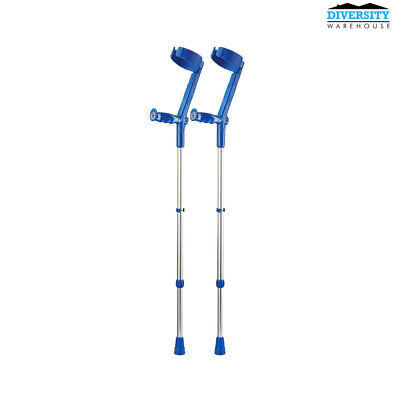 Rebotec Safe-In-Soft – Forearm Crutches with Cuff & Hinge Blue