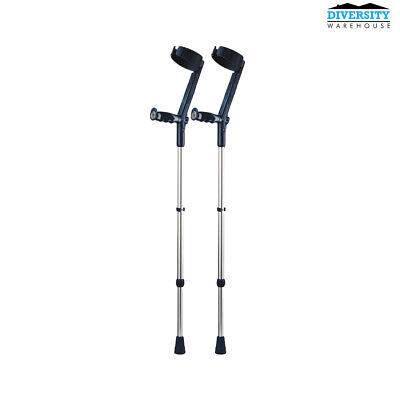 Rebotec Safe-In-Soft – Forearm Crutches with Cuff & Hinge Black
