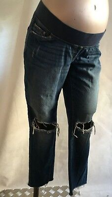 "[56] Next Maternity Blue Distressed Slim Slouch Jeans Size 12R (29"")"