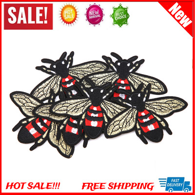 6Pcs/set Bee Flying Sew Iron On Embroidery Badge Fabric Applique Patch Craft DIY
