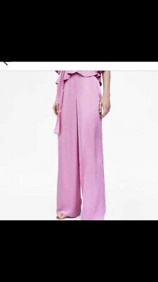 d17966e0 ZARA PINK LILAC Silky Satin Palazzo Wide Leg Trousers Size S ...