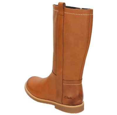 CLARKS Tildy Grace Inf Tan Leather Girls Long Leg Boots Size UK 10 F RRP £65