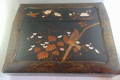 Antique Japanese / Chinese Writing Slope Box Mother Of Pearl Black Lacquer Birds