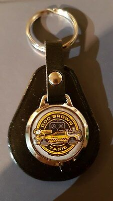 BACK TO THE FUTURE Dr BROWN TAXIS  DELOREAN TOP QUALITY LEATHER & METAL KEYRING