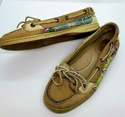 3894d65663e5 Sperry Top Sider Women Size 6 Medium Beige Brown Floral Fabric Leather  Casual