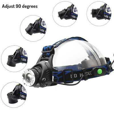 22000LM XML T6 LED Zoomable Headlamp Rechargeable Headlight Torch 18650 Charger