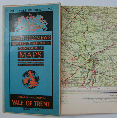 1960 Old Vintage Bartholomew's Half-inch Contoured CLOTH Map 24 Vale of Trent