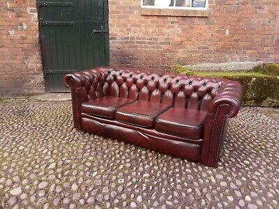 Lovely Vintage Oxblood Red  Leather  Chesterfield 3 Seater Sofa - Uk Delivery