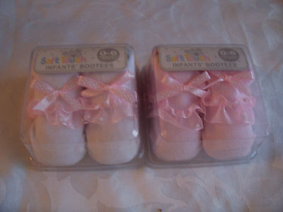 Soft Touch Baby Girl Booties Socks with Frills & Bow 0 - 6 Months Gift Boxed
