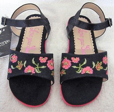 George Asda Girls Flat Buckle Fastening Navy Blue Sandal Embroidered Pink Floral