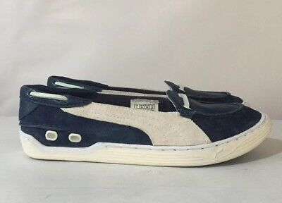 PUMA Sailing Volvo Ocean Race Deck Boat Shoes Flats Blue ~ UK 6 ~Suede Leather