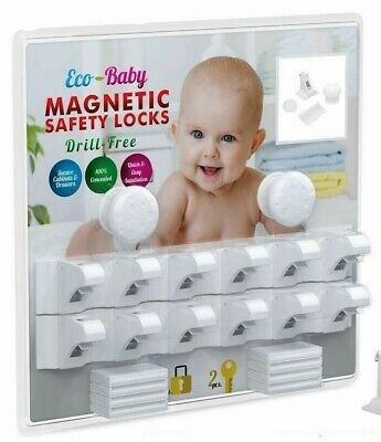 *New* Eco-Baby Magnetic Cabinet Locks Child Safety 12 Locks -Free Shipping- 1D