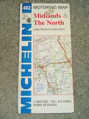 UK Michelin regional map 402 Midlands & The North - scale 1:400,000. 1994 edn
