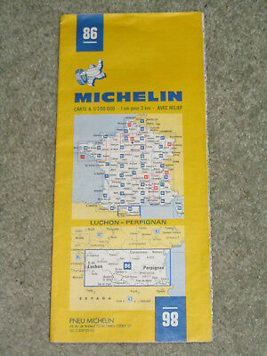 France Michelin map 86 Luchon-Perpignan - scale 1:200,000. 1980 edition