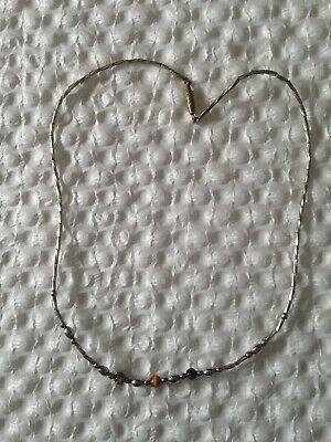 vintage carved Tigers eye Bead necklace Silver Tone Metal Round Oval Bead Design