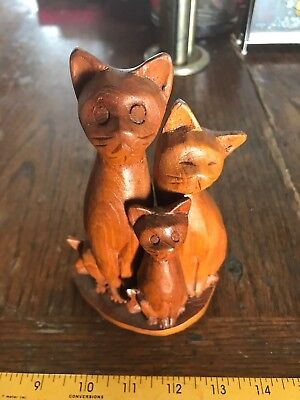 "10"" Antique Vintage  HAND CARVED wooden Cats carving art"