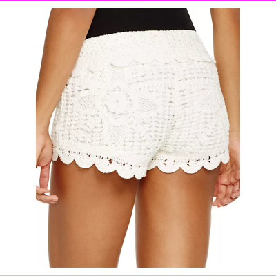 3e0ae22e658af Miken Women's Pull-on Styling Mid Rise Crochet Scalloped Cover-Up Shorts