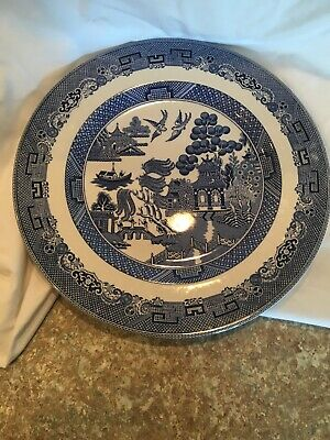 """Johnson Brothers Made In England Blue Willow Dinner Plate 10 7/8"""" Exc"""