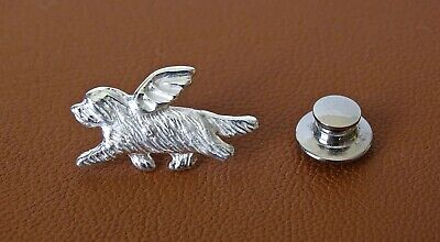 Sterling Silver Bearded Collie Angel Lapel Pin
