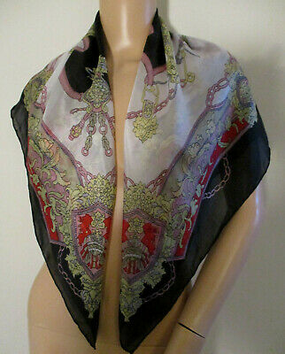 Cream Black Gold Red Military Style Vintage Floaty Light Silk Scarf Chains