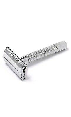 Assured Old Fashioned Stainless Butterfly Safety Razor with 5 Double Edge Blades