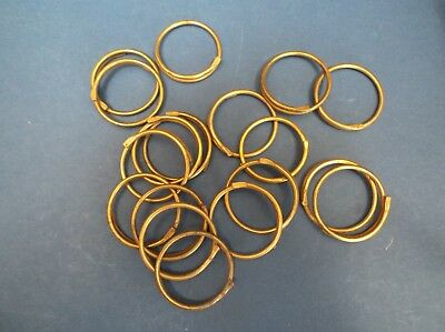 18 Vintage Brass curtain Rings 50's 3.5cm diameter x 1mm thick
