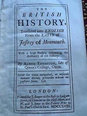 The British history, Jeffrey Of Monthmouth, 1st, 1718 Rare, Leather Bound